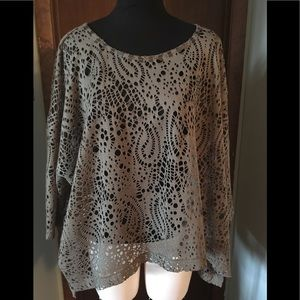 Alberto Makali Olive Green Lacy Top Size L